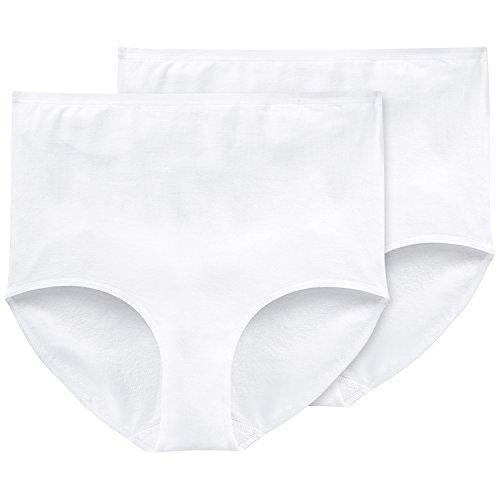 Schiesser Damen Maxi (2er Pack) Slip, Weiß (Weiss 100), 50 (Herstellergröße: 050)