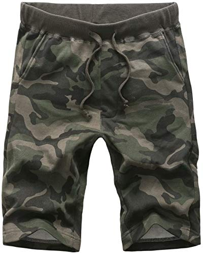 HENGAO Men's Casual Workout Athletic Gym Jersey Shorts, C-6 Green, 38