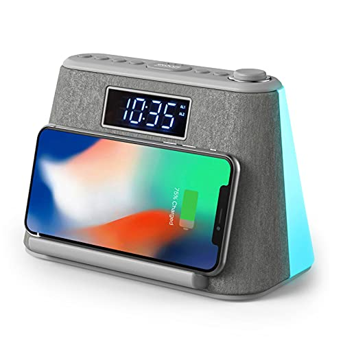 Alarm Clock Bedside FM Radio Non Ticking with USB Charger & Wireless QI...