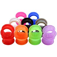 ZeSen Jewelry 9 Pares Color de la Mezcla de Silicona Flexible Doble Acampanado Tapones para los oídos Túneles del ampliador del oído medidores Perforación Gauge = 0 g (8 mm)