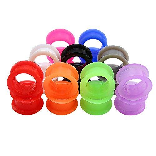 ZeSen Jewelry 9 Pares Color de la Mezcla de Silicona Flexible Doble Acampanado Tapones para los oídos Túneles del ampliador del oído medidores Perforación