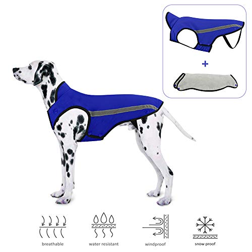 SlowTon Dog Jacket, Winter Dog Coat Waterproof Windproof Warm Adjustable Pet Vest Reflective...