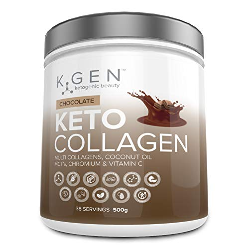 K-GEN Ketogenic Beauty   Keto Collagen Powder with 7200mg+ Multi Collagen Peptides, 3600mg Coconut MCTs & Vitamin C   for Diets to Develop Beauty from Within   Free-from Sugar & Gluten