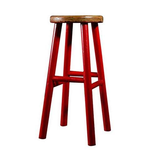 NAN liang Tabouret de bar en bois massif Cuisine Petit-déjeuner Tabouret de bar Chaise de salle à manger, Tabouret haut créatif Tabourets de bar simples (Couleur : Red)