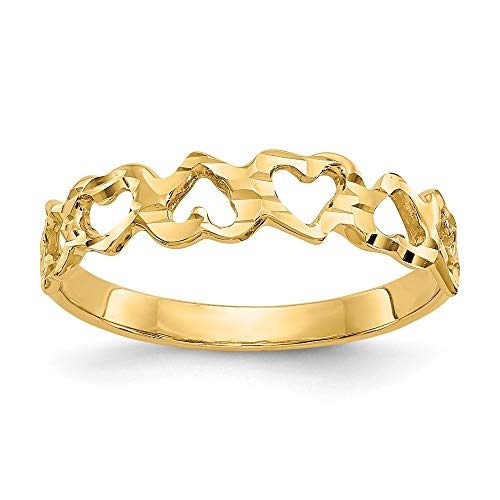 14k Yellow Gold Heart Band Ring Size 6.00 Love Fine Jewelry For Women Gifts For Her