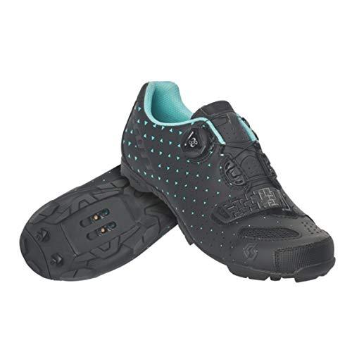 SCOTT MTB Comp BOA Lady Cycling Shoe - Women's Matte Black/Turquoise Blue, 42.0
