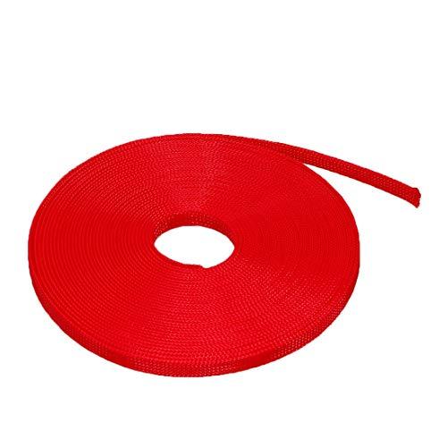 Funda trenzada extensible DyniLao PET, funda para cable trenzado de 3/8 pulgadas y 33 pies, rojo