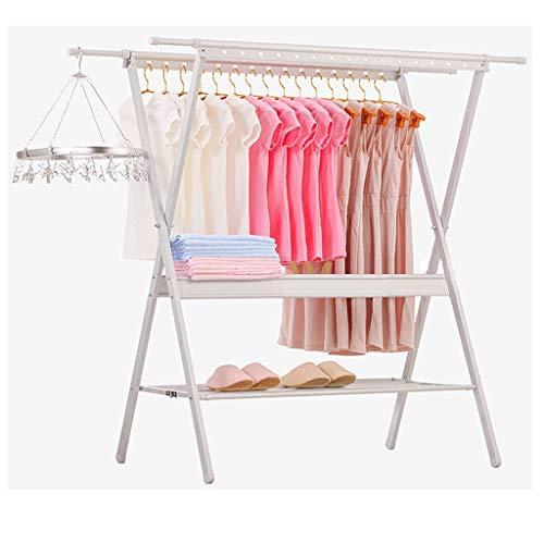 ZXZY Clothesline Stehen Wäscheständer Kleiderbügel Falten Veranstalter Fußboden Einstellbare Länge Metall Wäsche Trockner Multifunktion Wäscheleine Balkon Hof Regal (Color : B)