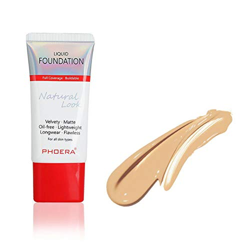 New PHOERA Face Foundation MKYUHP Naturally Liquid Foundation Full Coverage Perfect New 38ml Matte Oil-Control Concealer 12 Colors Optional, Totally New Package Great Choice 104A