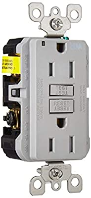 Leviton GFWT1-GY Self-Test SmartlockPro Slim GFCI Weather-Resistant and Tamper-Resistant Receptacle with LED Indicator, 15 Amp, Grey