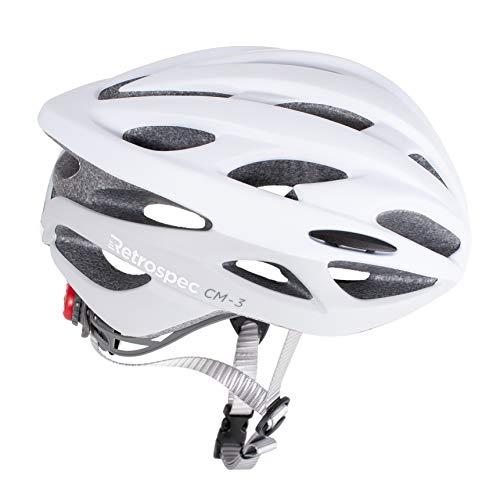 Retrospec CM-3 Bike Helmet with LED Safety Light Adjustable Dial and 24 vents, Matte White