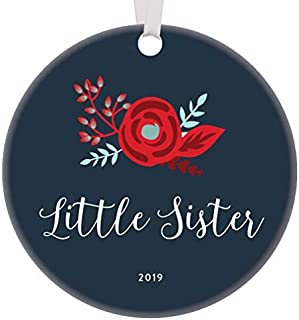 FashionShine 2019 Little Sister Christmas Ornament Pretty Bohemian Design Unique Thoughtful Gift Idea from Big Sis Holiday Stocking Stuffer Proud Parents New Baby Newborn Porcelain Memento