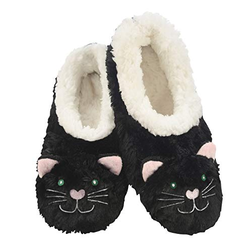 Snoozies Womens Animal Heads Sherpa Plush Fleece Lined Slipper Socks – Black Cat, X-Large