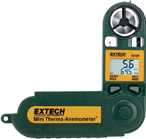 Extech 45158 Mini Waterproof Thermo-Anemometer with Humidity; Display Air Velocity and Either Relative Humidity, Dew Point, Temperature or Windchill; Measures RH from 10% to 95%