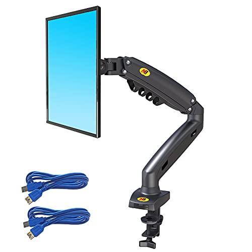 Ergosolid Monitor de PC para Pantallas de 17-30  Ajustable en Altura con Giratorio y Inclinación-VESA 75mm y 100mm Soporte con Brazo de Resorte de Gas de Rotación de 360, Negro, Unico