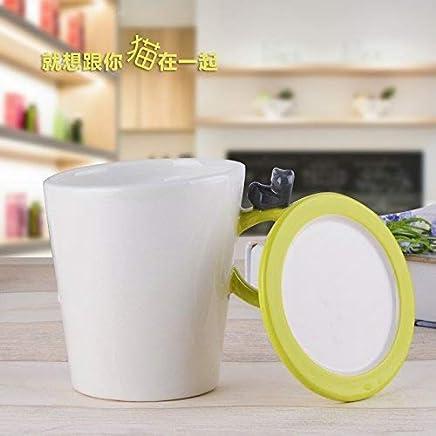 MOCER Einfache Keramische Tassen große Kapazität Becher Kaffee Milch Cup Büro Cups kreative Frühstück Tasse mit Deckel, Löffel, Französisch Filter Cup L mit Grüne Abdeckung B078BFV8WM | Exquisite Verarbeitung