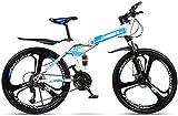 MTB 24 modernos velocidad de la bicicleta plegable de 24 pulgadas masculino y femenino estudiantes Shift Frenos Doble Amortiguador adulto Cercanías plegable doble disco Urban Track, Amarillo, 24' XIUY
