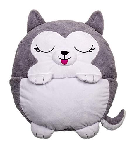 Happy Nappers 2-in-1 Kopfkissen, verwandelt Sich in einen Schlafsack, Husky
