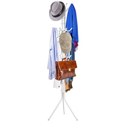 Ejoyous Garderobenständer, Kleiderständer Garderobe Stabiler Kleiderständer mit 8 Haken für Wohnzimmer Schlafzimmer Büro Garderobenhaken aus Metall, Höhe 174cm (Weiß)