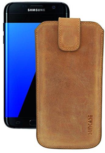 Suncase Samsung Galaxy S5 / S5 Neo / S6 / S6 Edge / S7 / S7 Edge/ECHT lederen etui lederen tas *met terugtrekglas * (origineel 16 TOP kleuren, Samsung Galaxy S7 Edge, antiek-cognac