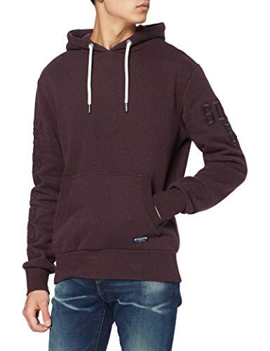 Superdry Mens T&F EMB Hood Skateboarding Hoodie, Autumn BlackBerry Marl, L