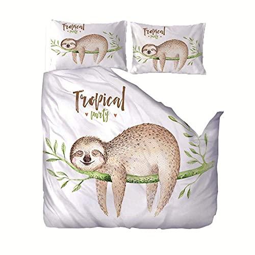 Funda nórdica Cama Super King Sloth Printed Soft Smooth Poliéster con Cierre de Cremallera Ropa de Cama antialérgica de fácil Cuidado con Fundas de Almohada Juego de 3 Piezas