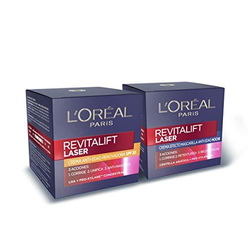 L'Oréal Paris Revitalift Láser Set de Crema de Día con Protección Solar SPF 20 y Crema de Noche Anti-Edad, Triple Acción y Antiarrugas, 50 ml cada una