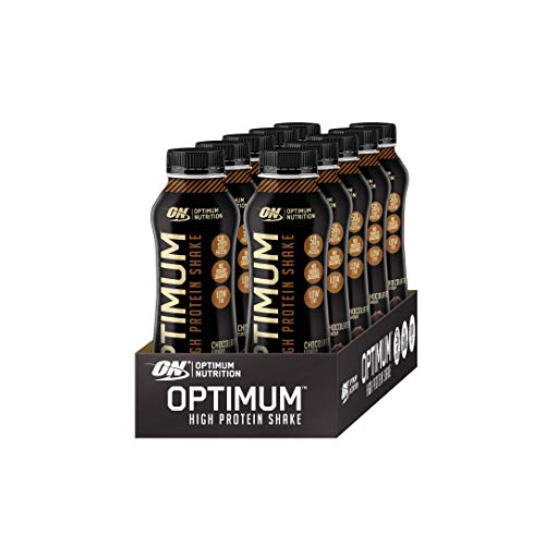 Optimum Nutrition ON High Protein Shake Bottles, Ready To Drink Snack, Low Fat and No Added Sugar, Chocolate, 10 Shakes, 10 x 500 ml