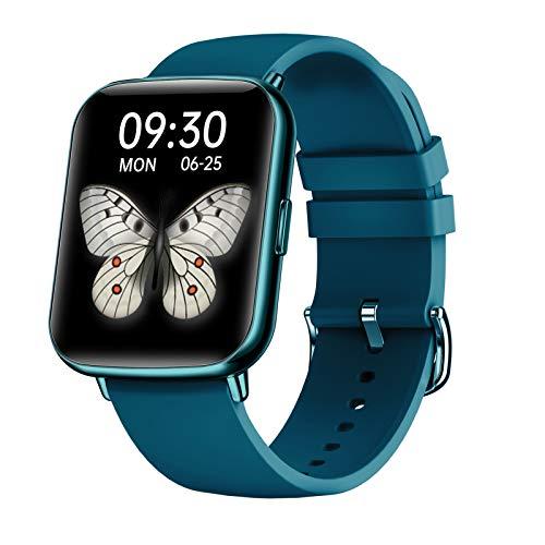 FMSBSC Smartwatch Mujer Hombre Reloj Inteligente Monitor De Sueño Pulsómetros, 24 Modos Deportivos Fitness Tracker,Azul