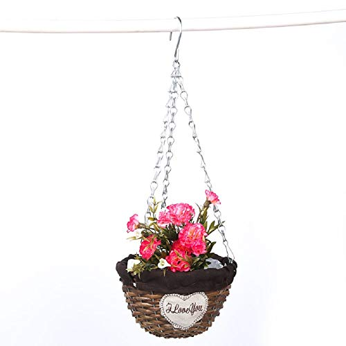 Yosposs en osier Pots de fleurs en rotin Kz3281-w643 faite à la main une Forme à suspendre Pot de fleurs à suspendre en rotin Panier Pot de fleurs en osier tressé Faux support de panier à suspendre pour pot de fleurs pour plantes d'intérieur ou extérieur a
