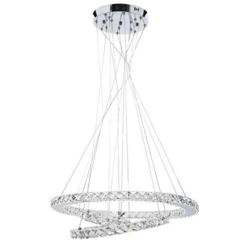 Elliptische LED Moderne Kristall Kronleuchter Edelstahl Pendelleuchte Deckenleuchte Schlafzimmer Lüster Kaltweiß (Tri-Ring + Dimmbar (20 cm + 40 cm + 60 cm))