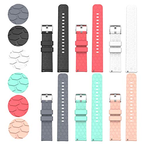 Compatible with Fossil Gen 4 Q Explorist HR Bands Replacement Accessory Sport Colourful Silicone Bracelet 6Pack 22MM Strap Band for Fossil Gen 6 Men's 44mm/Fossil Gen 4/ Gen 5 Explorist HR Smartwatch, Soft and Durable