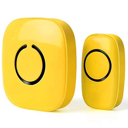 Wireless Doorbell by SadoTech – Waterproof Door Bells & Chimes Wireless Kit – Over 1000-Foot Range, 52 Door Bell Chime, 4 Volume Levels with LED Flash – Wireless Doorbells for Home – Model C (Yellow)
