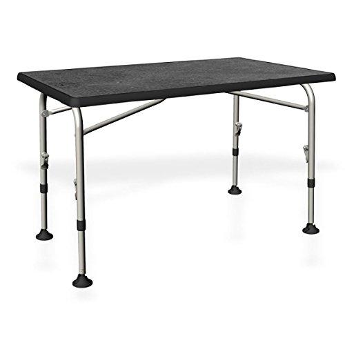 STABIELER table pliante aluminium-bois-zENTRALVERSCHLUSS-chez vORBESTELLUNG-solide aLUMINIUMGESTEL-table de camping pliante 115 cm x 70 cm-coloris : gris clair-hauteur réglable de 58 à 72 cm/28 mm pour les produits ® châssis en aluminium-sTABIELO holly sunshade--