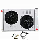 Primecooling 4 Row All Aluminum Radiator +2X12' Fans and Shroud for GMC Chevy C/K Series Pickup Truck/Jimmy V8 Enigne 1973-91