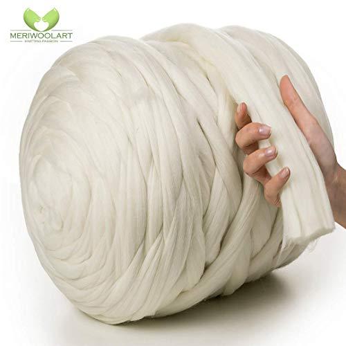 MeriWoolArt 100% Merinowolle zum Stricken & Häkeln mit 4-5 cm dickem Garn | Dicke Merino Wolle für XXL Schal, Decke & Kissen (Weiß, 4,5Kg Knäuel)