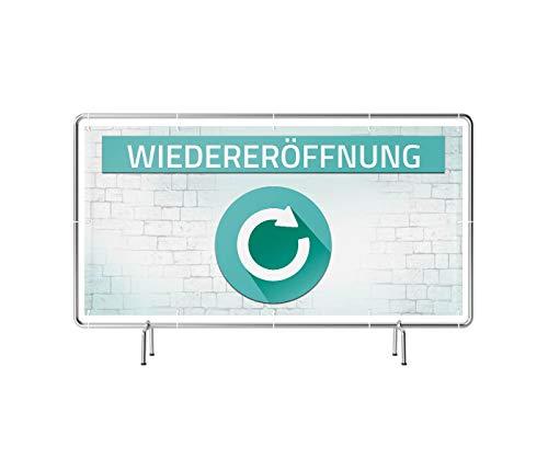 Wiedereröffnung Banner | Werbebanner mit Saum & Ösen alle 50 cm (Banner 340 x 173 cm (Bauzaun))