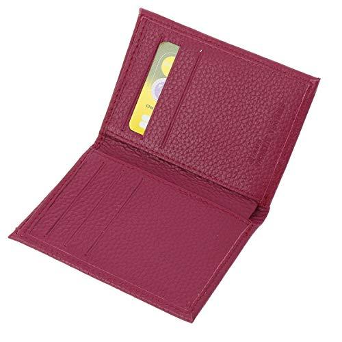 FASHIONGEN - Portacarte in Pelle di Vacchetta, per carte di credito, fedeltà e visite, per Donna e Uomo, SAWSAN - Fucsia - Anti RFID
