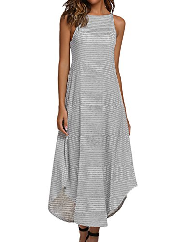 Halife Women's Summer Casual Loose Striped Long Dress Sleeveless Swing Maxi Dress Gray L