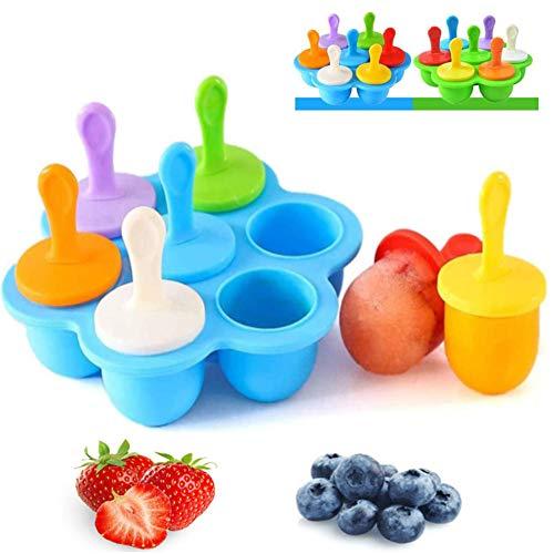 ZHOUZHOU Eisförmchen Popsicle Formen,Eisformen EIS Mini-Silikonform,Eisformen EIS am Stiel Silikon, Mini eisförmchen für Kinder, Babynahrungs-Aufbewahrungsbehälter(Blau)
