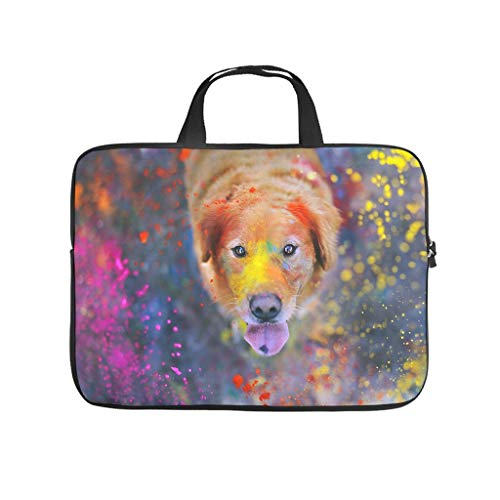 dog paints cute animal Laptop bag Design Laptop Case Bag Customized Water Resistant Laptop Briefcase with Portable Handle for Women Men white 17 zoll