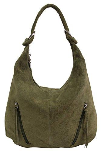 AMBRA Moda Damen Ledertasche Shopper Wildleder Handtasche Schultertasche Beuteltasche Hobo Tasche Groß WL822 (Olivgrün)