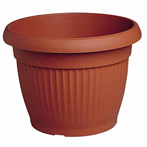 Vaso tondo rigato diametro 30 colore terracotta