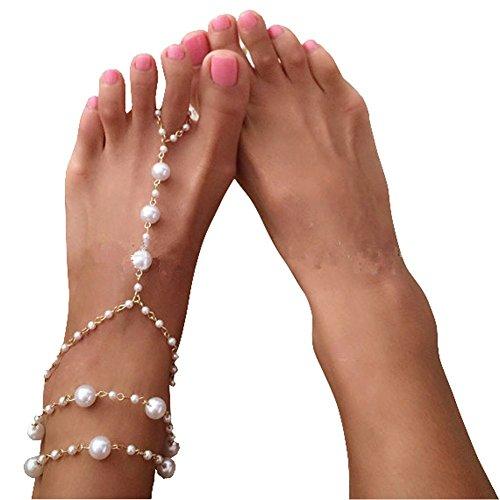 Fußkettchen mit künstlichen Perlen