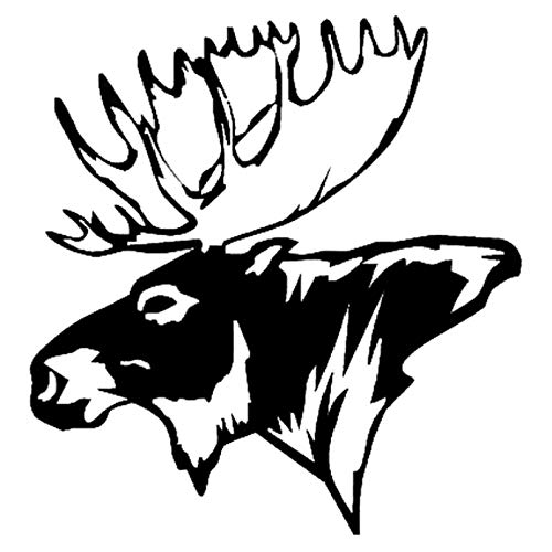 WYG Car Sticker 2 Pack Moose Head Bow Car Stickers Hunting Car Styling Waterproof And Durable Decal Accessories Black/Silver 14.5 * 15.2Cm