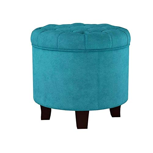 Hassock with Storage Ottoman Teal Velvet Round Tufted Movable Cap Wood Legs Elegant Functional Bedroom Living Room Decorative & eBook by JEFSHOP