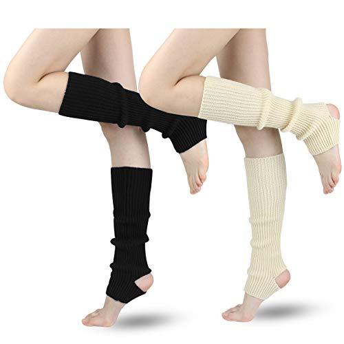 LADES DIRERCT Damen Stulpen - Stricken Beinstulpen Socken Mit Fersenloch Gestrickt Beinwärmer Ballett Yoga Stulpen Legwarmer Strümpfe 1980er Jahre Party Kleid, Schwarz+weiß, M