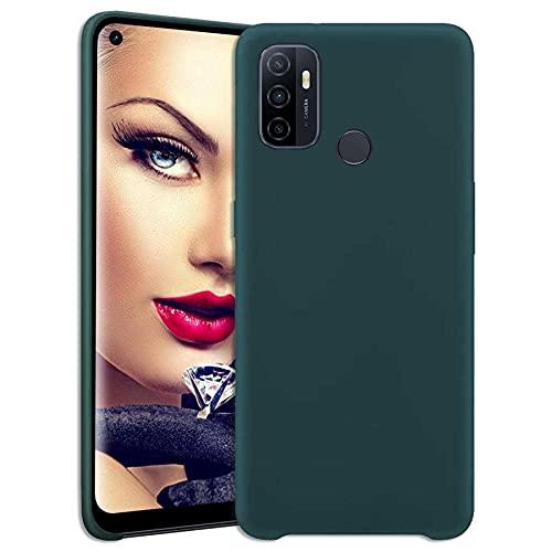 mtb more energy® Silikon Hülle für Oppo A53, A53s (6.5'') - dunkelgrün - Ultra Silk Touch - Liquid Silicone Hülle Handyhülle Cover Tasche