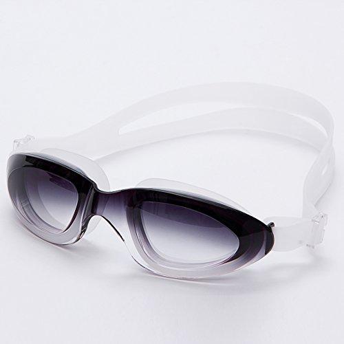 Swimming goggles Gafas antiniebla y impermeables de la natación, capa antiniebla material del silicón, tres colores opcionales (Color : Negro)