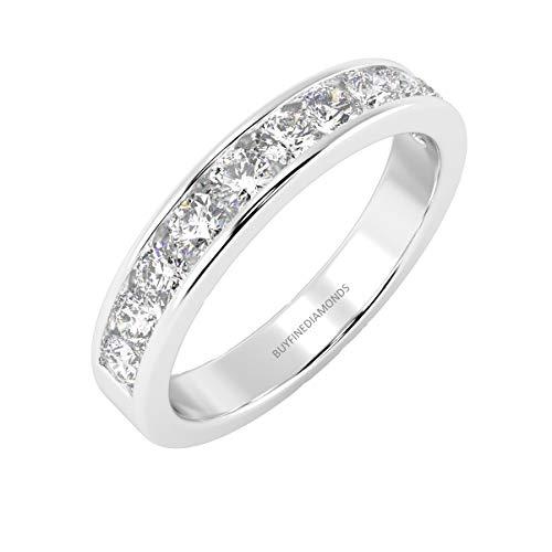Anello Half Eternity in oro bianco 18 ct, certificato 100% naturale (0,25 ct - 0,75 ct) e Oro bianco, 50 (15.9), colore: bianco, cod. HDR0473.46